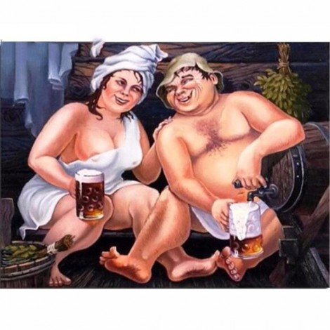 5D DIY Diamond Painting Kits Funny Couple Drinking Beer To Celebrate
