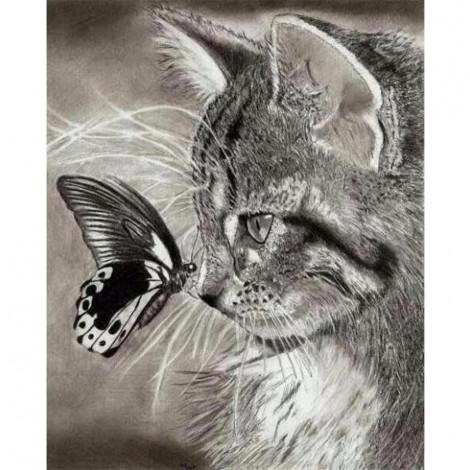 5D DIY Diamond Painting Kits Black And White Cat And Butterfly